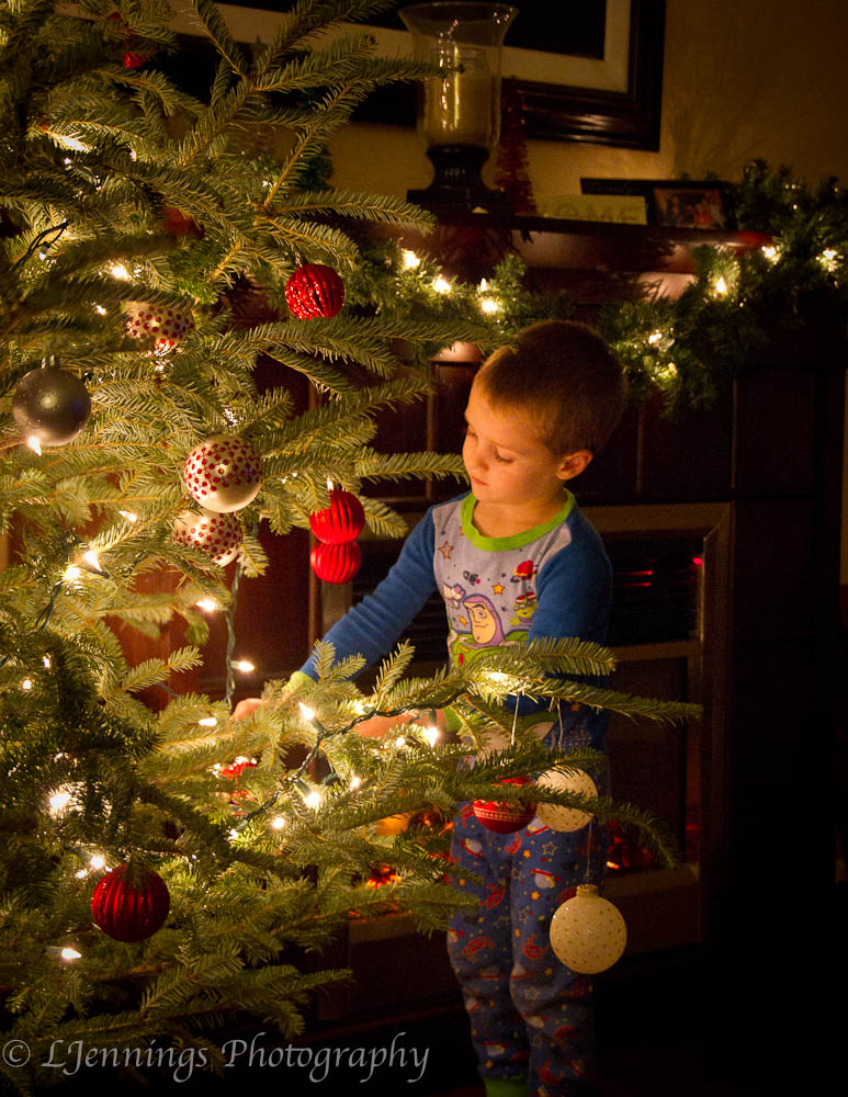 Young boy decorating christmas tree ljennings photography for Baby christmas tree decoration